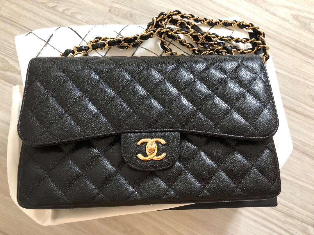 5fc1c57b1266 Chanel jumbo caviar double flap with GHW, Luxury, Bags & Wallets on ...