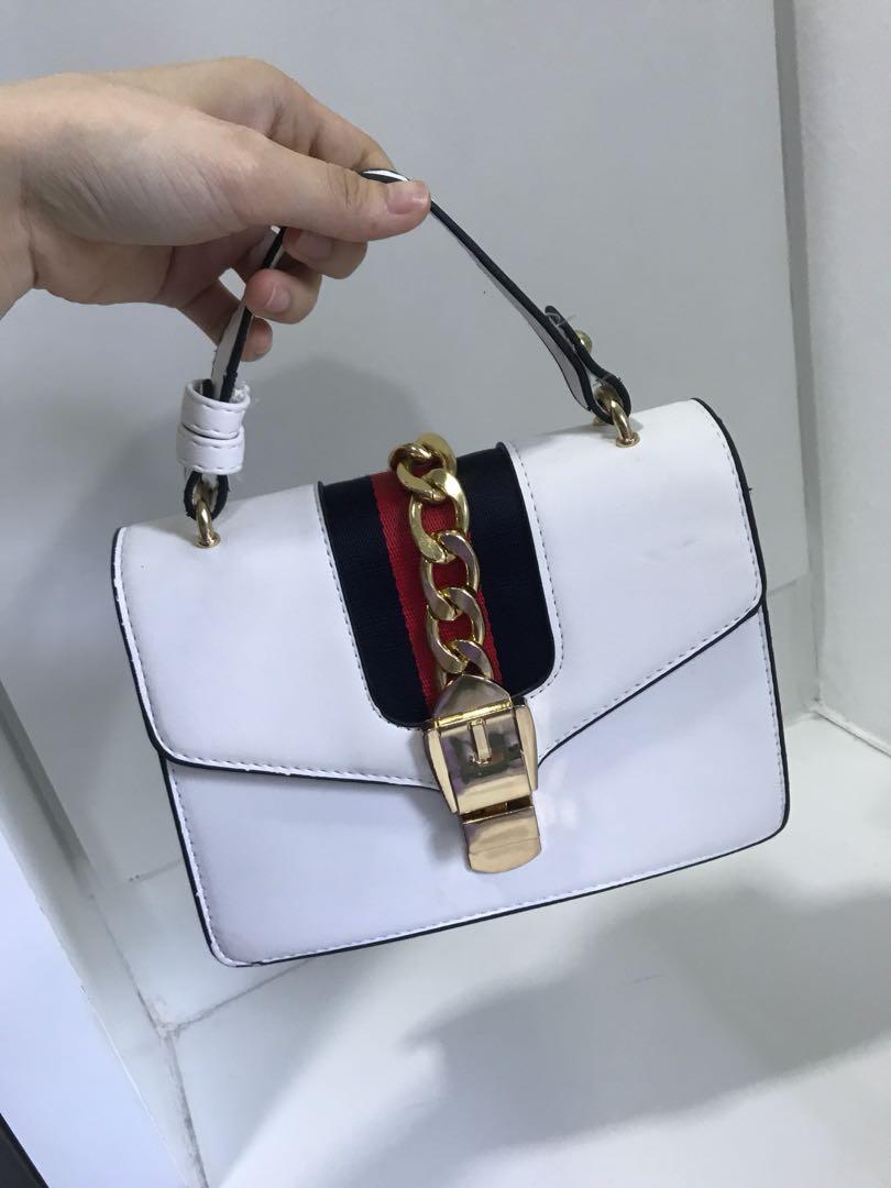 Gucci inspired white sling bag