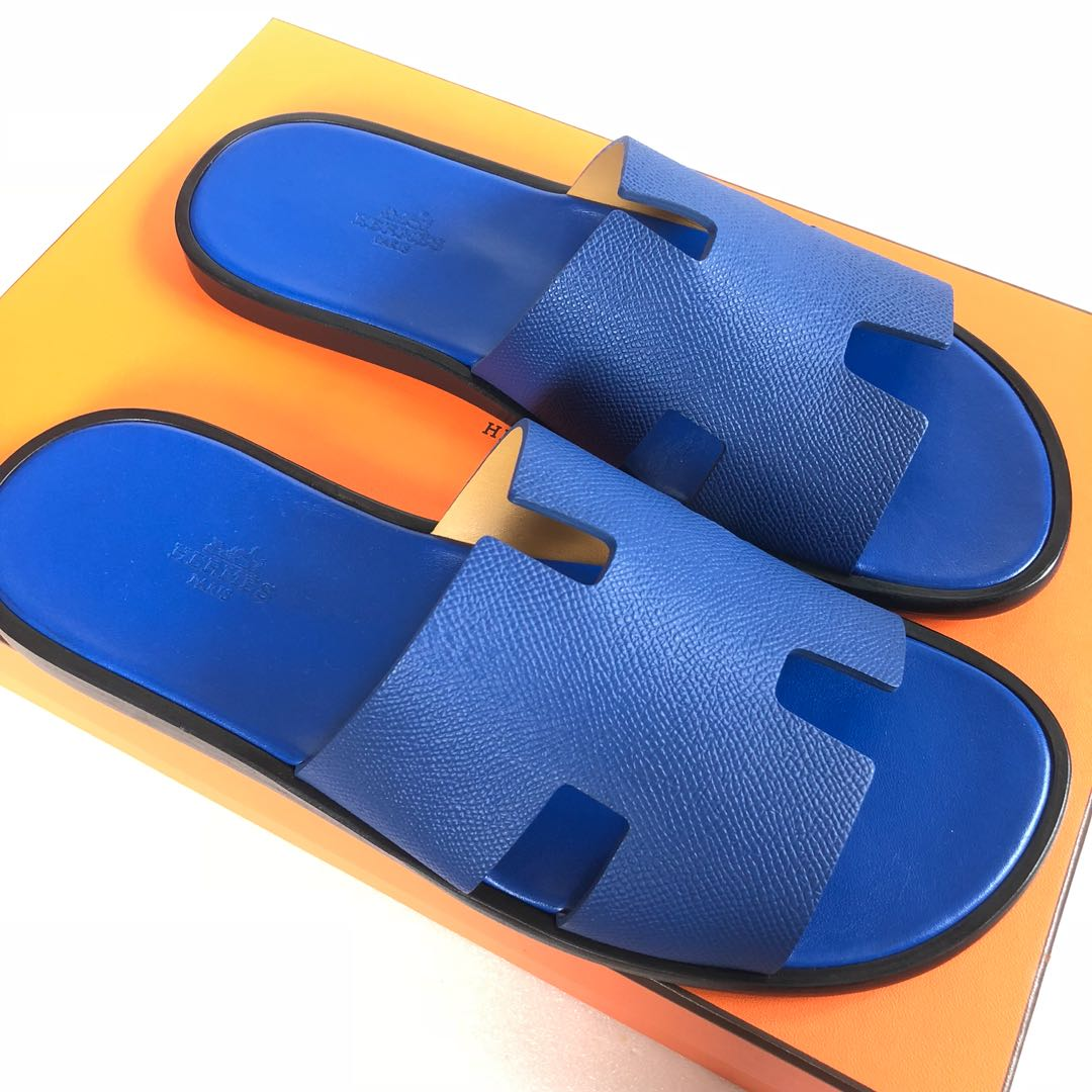 0cab5d7e22aea4 Hermes - Blue Electric Izmir Sandals in Veau Epsom in size 42 ...