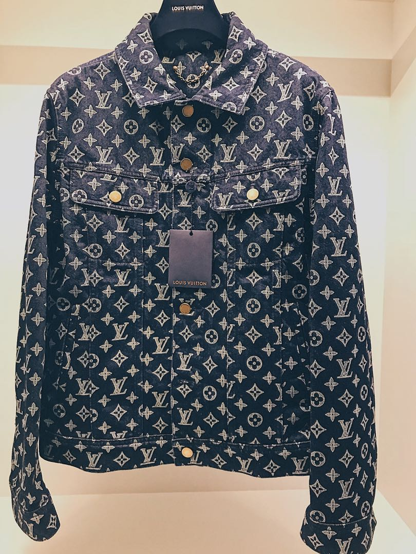 39565ce09 Louis Vuitton Monogram Denim Jacket, Luxury, Apparel, Men's on Carousell