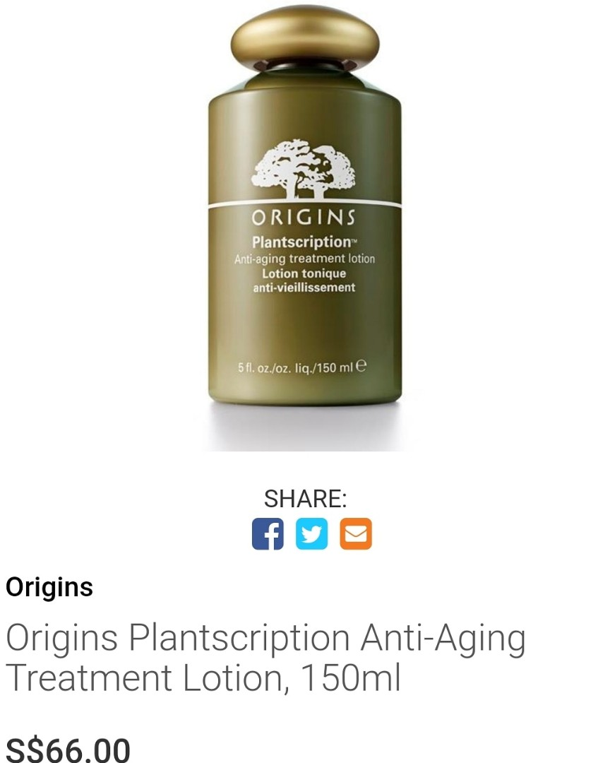 Origins Plantscription Anti Aging Treatment Lotion 150ml Health Beauty Face Skin Care On Carousell