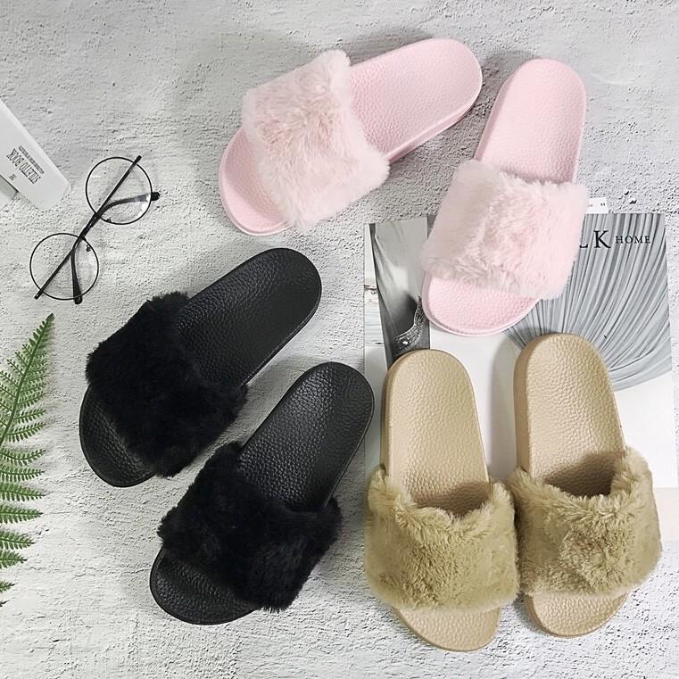 3dfdfc933166 Victoria Secret Puma Rihanna Fenty Fur Fluffy Furry Sandal Slipper Sandals  Slippers