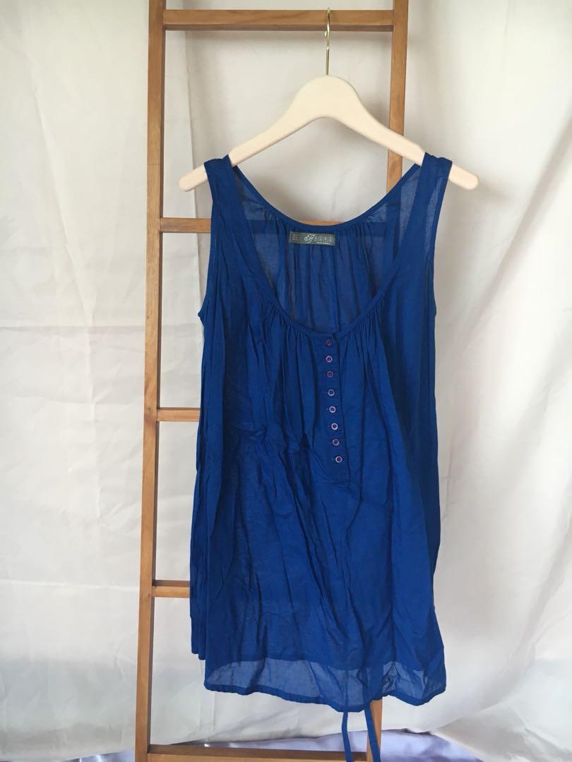 b93f943a ZARA flowy royal blue dress or tunic, Women's Fashion, Clothes ...