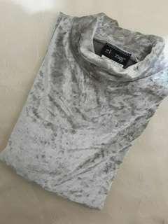 Trendy Silver Crushed Velvet Top