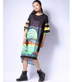 PO - street wind short sleeve print o-neck pullover knee-length loose dress