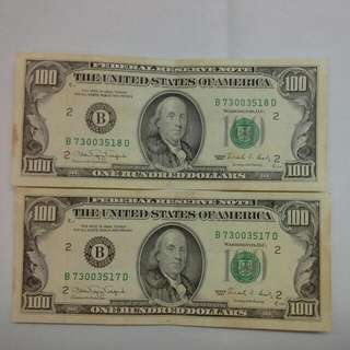 United States Usa $100 X 2 1990, Aunc Pair Consecutive Numbers