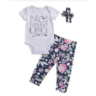Baby / Newborn 3 Pc Set NICE TO MEET YOU Fashionable Trendy Abstract Floral Rainbow Print Romper, Pants & Ribbon Bow Cap