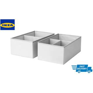 IKEA SLÄKTING Box with compartments, grey, turquoise