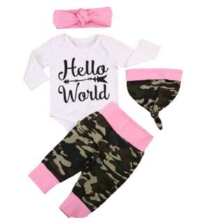 Baby / Infant HELLO WORLD Newborn Girl Arrival Camouflage Army Pink Print Cap & Long Sleeve Romper Top 2 Pc Set