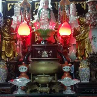 Antiques of the pairs Chinese Traditional Ancient Laquer God Statues.