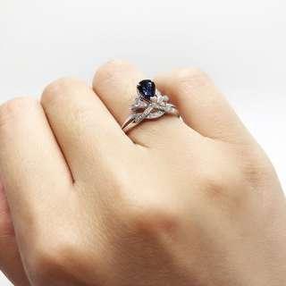 80份天然藍寶石皇冠戒指 + 11份天然白鑽 高貴大方/女士首飾/珠寶/送禮/生日/情人/便宜