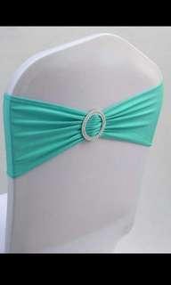 (RENTAL) Tiffany blue Lycra spandex chair sash
