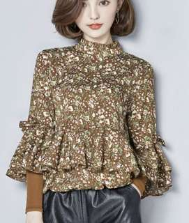 PO - long flare sleeve stand collar floral print ruffles blouse (4 colors)