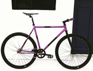 "FIXIE 26"" NEW PURPLE BLACK PANTHER DESIGN (Coaster Brake, Fixed Gear, Free Gear, Flip Flop Hub) Less than 9.5Kg for Full Fixie"