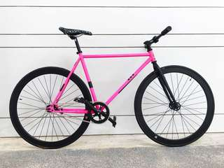 "FIXIE 26"" PINK BLACK FIXIE Coaster Brake, Fixed Gear, Free Gear, Flip Flop Hub 9.5Kg Only for Full Fixie"
