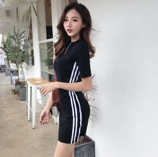 Strips bodycon slim dress