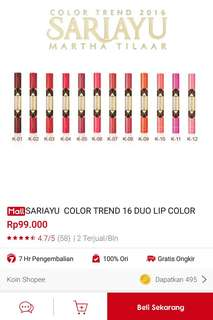 Sariayu Color Trend 16 Duo Lip Color
