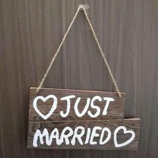 Just married pre-wedding bid day 木牌