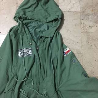 Military Style Olive Green Cape light  Coat with hood