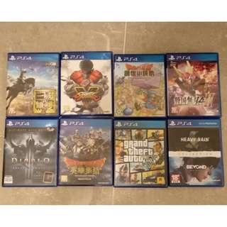 PS4 街霸 V, 三國無雙8, GTA 5, Diablo 3, 戰國無雙4 II, 勇者鬥惡龍, 創世小玩家