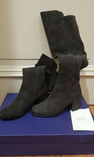 BNWT STUART WEITZMAN Suede Lowjack Boots in Anthracite size eu 37 us 6.5