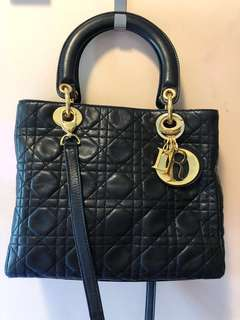 Dior Lady vintage black lamb leather bag 復古黑色羊皮手袋5格