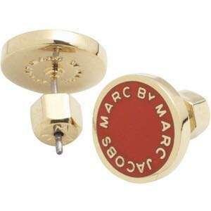 Marc by Marc Jacobs Enamel Logo Disc Stud Earrings Red Golden 紅色配金色耳環