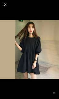 Ulzzang baby doll like dress in black