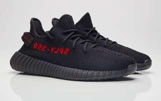 Adidas Yeezy Boost V2 350 SPLY Full Black Red Grade Original