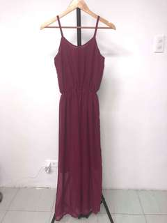 OLD ROSE MAXI DRESS FITS XS TO LARGE FREE SIZE