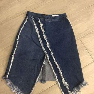 韓國 開叉 女裝 流蘇 中裙 skirt jeans