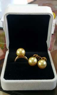 14K Golden Southsea Pearl Set