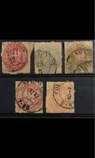 Prussia eagles 1861-1867 5v Used Rare