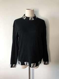 💯真品Auth Fendi logo vintage black sweater 經典古著冷衫毛衣