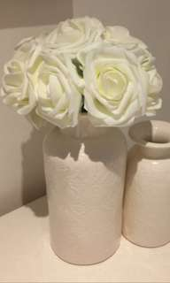 (RENTAL) 10 heads 8cm Pretty Charming White Artificial PE Foam Rose Flowers
