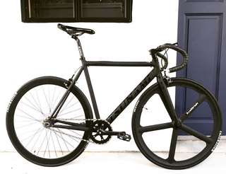 "NEW FIXIE 26"" FULL BLACK TSUNAMI TRACK Frame With AEROSPOKE Wheel & Leather Bar Tape (Coaster Brake, Fixed Gear, Free Gear, Flip Flop Hub) 9Kg Only (PM for more details)"