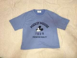 🚚 韓版 米奇寶貝藍短版T恤  米老鼠