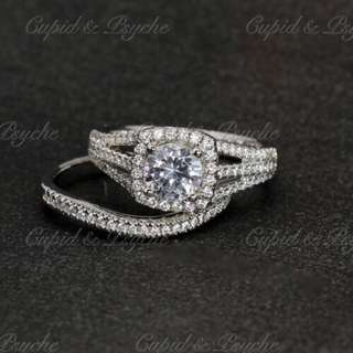 RN200388 Cupid & Psyche Jewellery 戒指 一卡 主石 求婚戒指 鑽戒 18K 鍍鉑金 925silver 蘇聯石 雙拼戒指 拼戒 戒指套裝 禮物 RING SET