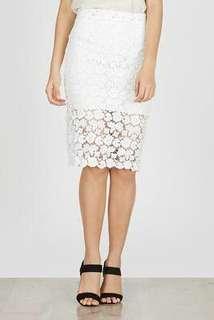 Brukat White Skirt (Berry Benka)