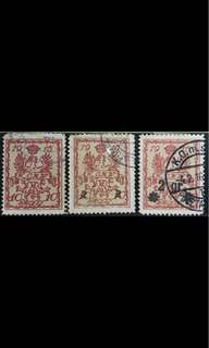 Poland early eagle stamps diff overprints