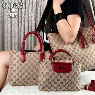 FREE ONGKIR Set 3in 1 GUCCI Bolbal Canvas vs Smooth Leather Hardware Gold 2121*