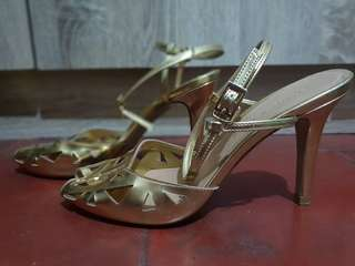 Charles and Keith gold stiletto sandals