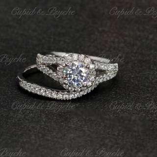 RN202081 Cupid & Psyche Jewellery 戒指 一卡 主石 求婚戒指 鑽戒 18K 鍍鉑金 925silver 蘇聯石 雙拼戒指 拼戒 戒指套裝 禮物 RING SET