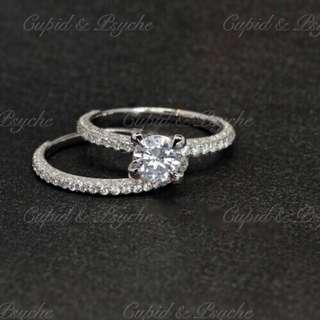 RN202122 Cupid & Psyche Jewellery 戒指 一卡 主石 求婚戒指 鑽戒 18K 鍍鉑金 925silver 蘇聯石 雙拼戒指 拼戒 戒指套裝 禮物 RING SET