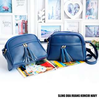 Slingbag Dua Ruang Kuncir Navy (Best Seller)