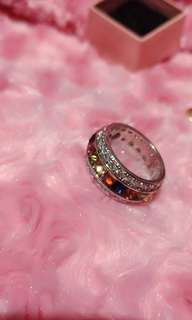 Repriced!!!925 colorful stone & diamond ring