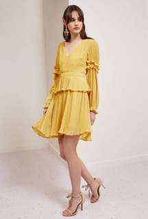 Keepsake Lemonade Yellow Skylines Mini Dress
