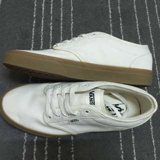 Vans atwood 白色 焦糖底 膠底 帆布 滑板鞋 Old skool authentic era 黑白