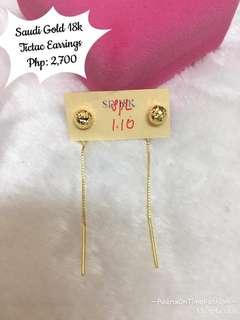 Saudi Gold 18k Tic tac Earrings