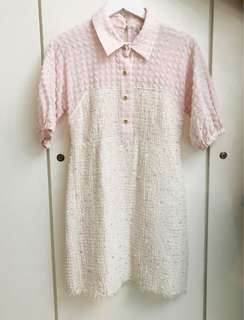 Preloved Chanel pink and off white tweed dress - Good Deal